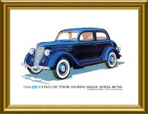 Framed 1936 Tudor Touring Sedan Print - 1932 & Up Books