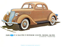 1936 Deluxe 5 Window Coupe Print - Posters & Prints